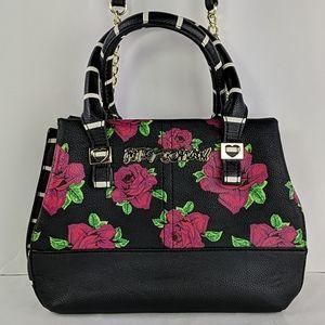 Betsey Johnson Black With Roses Crossbody Bag